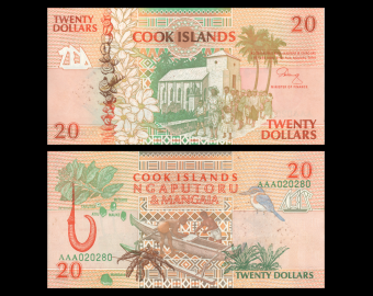 Cook Islands, P-9, 20 dollars, 1992