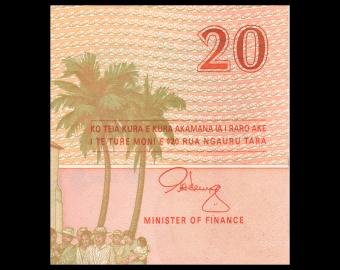 Iles Cook, P-9, 20 dollars, 1992, PresqueNeuf / a-UNC