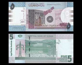 Sudan, P-72c, 5 pounds, 2015