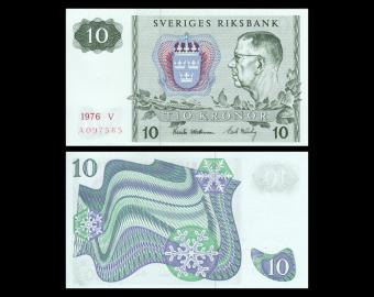 Sweden, P-52g, 10 kronor, 1976
