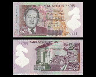 Mauritius, P-64, 25 roupies, Polymer, 2013