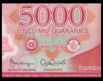 Paraguay, P-234b, 5000 guaranies, Polymère, 2016