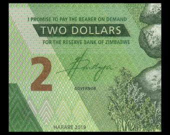 Zimbabwe, P-101, 2 dollars, 2019