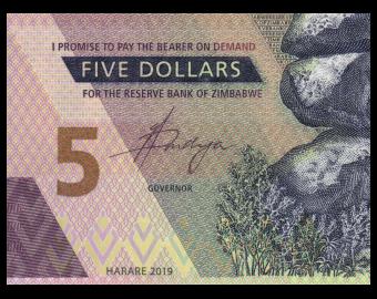Zimbabwe, P-102, 5 dollars, 2019