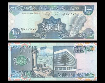 Lebanon, P-69a, 1 000 livres, 1988