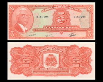 Haïti, P-232b, 5 gourdes, L. 17.08.1979