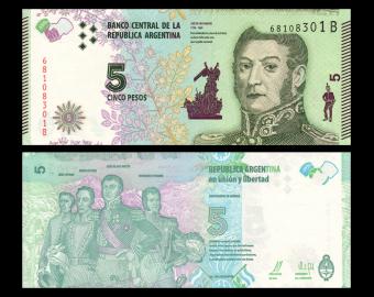 Argentine, P-359, 5 pesos, 2015