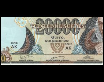 Equateur, P-129h, 20 000 sucres, 1999