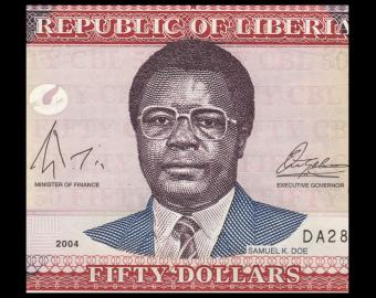 Liberia, P-29b, 50 dollars, 2004