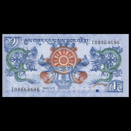 5 x 1 Ngultrum LOT Bhutan UNC 2013 P-27b