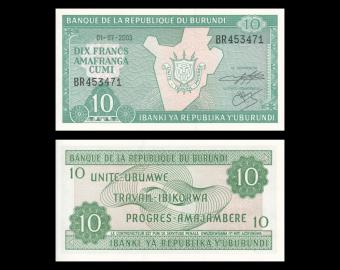 Burundi, P-33d, 10 francs, 2003