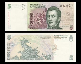 Argentina, P-353d, 5 pesos, 2003