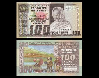 Madagascar, P-63, 100 francs, 1974-75
