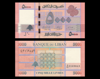 Lebanon, P-91a,5000 livres, 2012
