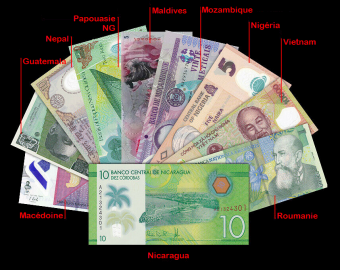 Polymer, lot of 10 banknotes from 10 countries