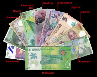 Polymère, lot de 10 billets 10 pays