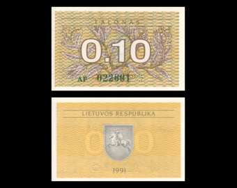 Lithuania, P-29a, 0.10 talonas, 1991