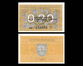 Lituanie, P-30, 0.20 talonas, 1991