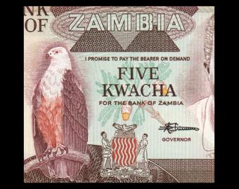 Zambie, P-25d, 5 kwacha, 1988