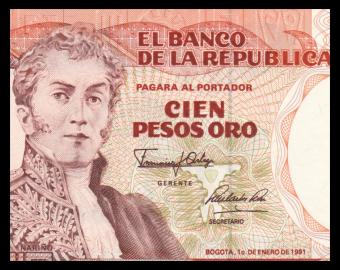 Colombia, P-426e, 100 pesos oro, 1991