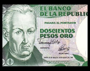 Colombia, P-429A, 200 pesos oro, 1992