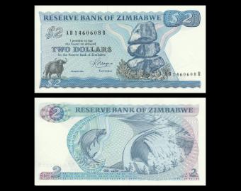Zimbabwe, P-001b, 2 dollars, 1983