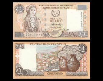 Cyprus, P-60d, 1 lira, 2004