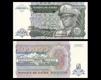 Zaïre, P-41, 100 000 zaïres, 1992