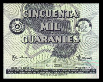 Paraguay, P-225A, 50.000 guaranies, 2005
