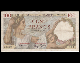 France, P-094, 100 francs, Sully, 1940, TB / Fine