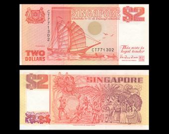 Singapore, P-27, 2 dollars, 1990