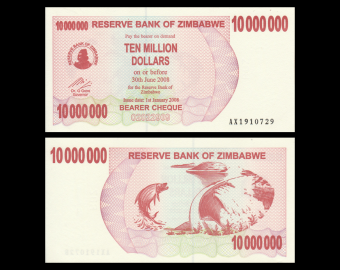 Zimbabwe, P-055a, 10 000 000 dollars, 2008