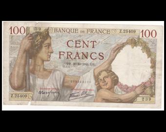 France, P-094, 100 francs, Sully, 1941, B / Faire