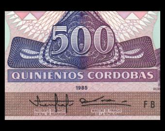 Nicaragua, P-155, 500 cordobas, 1985