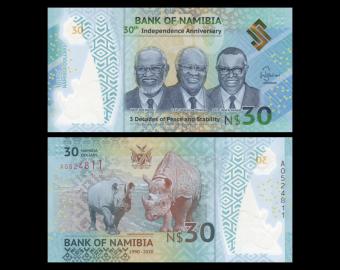 Namibia, P-18, 30 dollars, 2020, Polymer