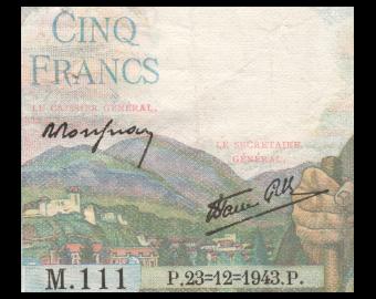 France, P-098a, 5 francs, 1943, TTB / Very Fine