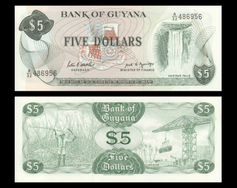 Guyana, P-22e, 5 dollars, 1987