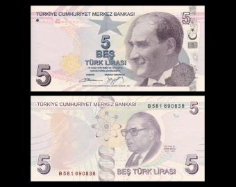 Turkey, P-222b, 5 lira, 2009
