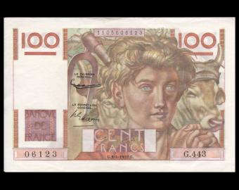 France, P-128d, 100 francs, Jeune Paysan, 1952, TTB / VeryFine