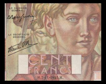 France, P-128d, 100 francs, Jeune Paysan, 1945, SUP / Extremely Fine