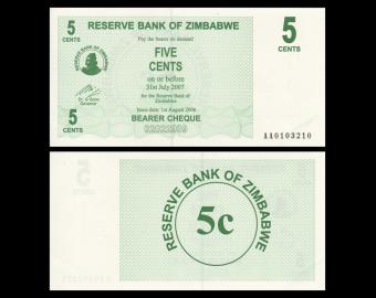 Zimbabwe, P-034, 5 cents, 2006