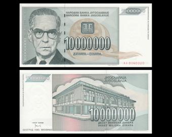 Yugoslavia, P-122, 10 000 000 dinara, 1993
