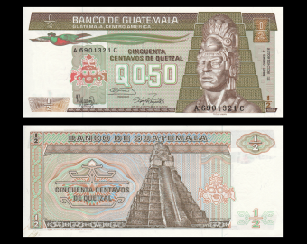 Guatemala, P-065e, 0.5 quetzal, 1986