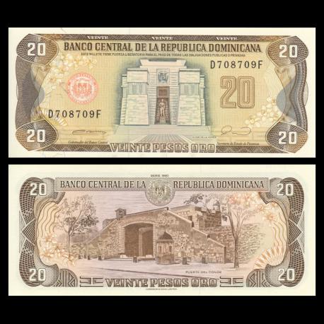 Dominican Republic, P-133, 20 pesos oro, 1990
