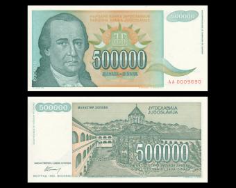Yougoslavie, P-131, 500 000 dinara, 1993
