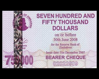 Zimbabwe, P-052, 750.000 dollars, 2008