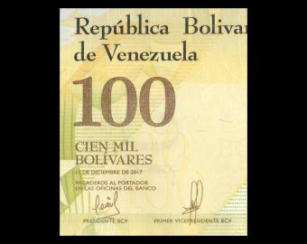 Venezuela, P-100b4, 100000 bolivares, 2017