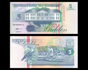Suriname, p-136b, 5 gulden, 1998