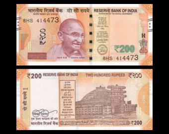 India, P-113e, 200 rupees, 2018