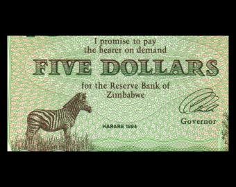 Zimbabwe, P-002e, 5 dollars, 1994